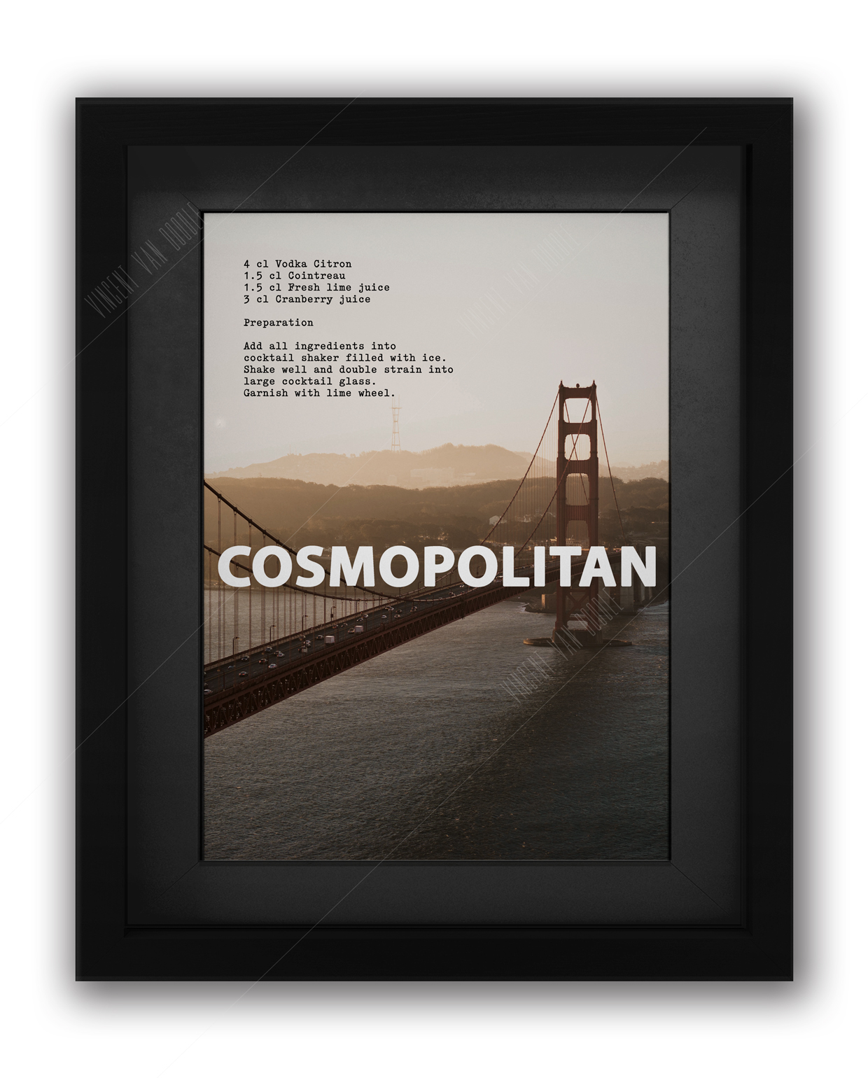 Cosmopolitan Cocktail Recipe Print in Black
