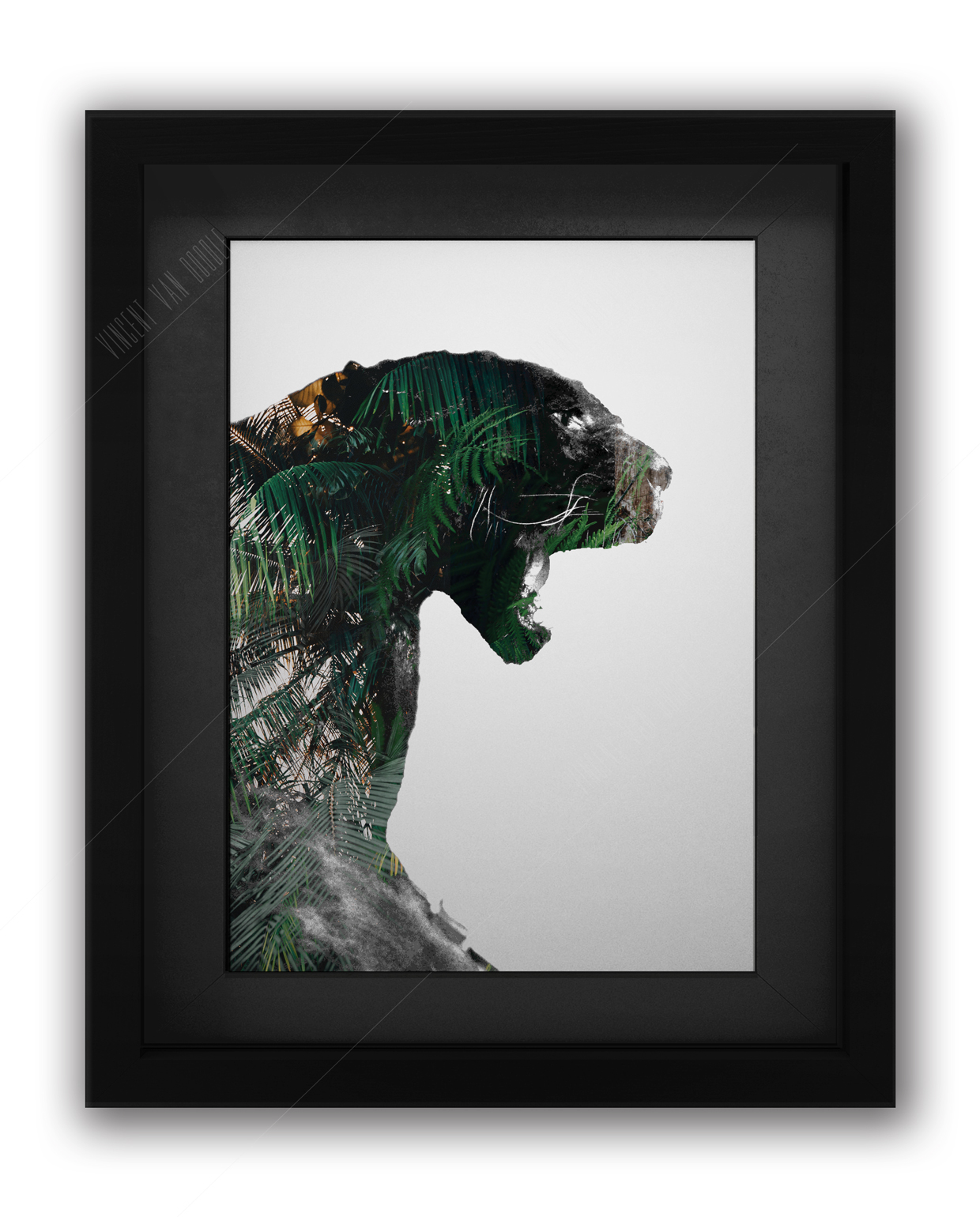Panther Green and Gold Art Print