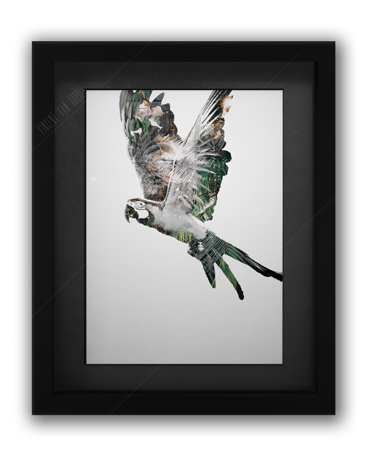 Parrot Green and Gold Art Print