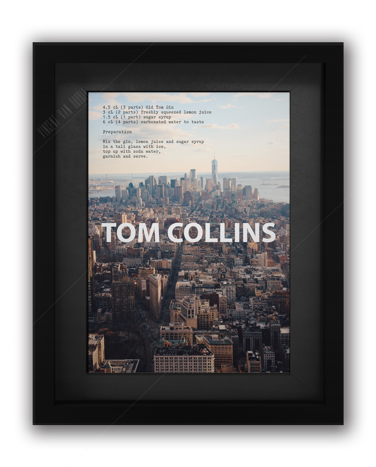 Tom Collins Cocktail Recipe Print Black Frame